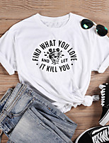 cheap -Women's Halloween T-shirt Graphic Prints Skull Letter Print Round Neck Tops 100% Cotton Basic Halloween Basic Top White Black Purple