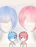cheap -Synthetic Wig Rem Ram kinky Straight Bob Wig Short Pink Blue Synthetic Hair 12 inch Women's Anime Cosplay Adorable Blue Pink