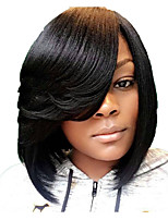 cheap -Synthetic Wig Straight Asymmetrical Side Part Wig Short Black Synthetic Hair 12 inch Women's Party Classic Side Part Black