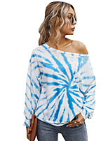 cheap -Women's T-shirt Tie Dye Long Sleeve Patchwork Print Round Neck Tops Loose Basic Basic Top Blue Blushing Pink Green