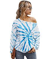 cheap -Women's T-shirt Tie Dye Long Sleeve Patchwork Print Round Neck Tops Loose Basic Basic Top Blue Blushing Pink Green