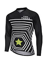 cheap -YORK TIGERS Men's Long Sleeve Cycling Jersey Downhill Jersey Black / White Stripes Stars Bike Tee Tshirt Sports Clothing Apparel / Advanced / Micro-elastic