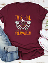 cheap -Women's Halloween T-shirt Graphic Prints Skull Letter Print Round Neck Tops 100% Cotton Basic Halloween Basic Top White Yellow Wine