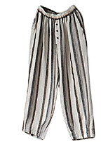 cheap -women's striped wide leg cropped pants linen capri harem casual trousers x-large gray