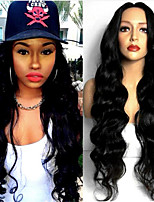 cheap -Synthetic Wig Body Wave Middle Part Wig Very Long Black Synthetic Hair 28 inch Women's Fashionable Design Comfortable Middle Part Black