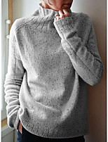 cheap -Women's Basic Solid Color Plain Pullover Long Sleeve Slim Sweater Cardigans Turtleneck Fall Winter Purple Blushing Pink Light Brown