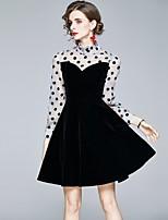cheap -Women's A-Line Dress Short Mini Dress - Long Sleeve Polka Dot Solid Color Patchwork Zipper Fall Work Elegant Slim 2020 Black S M L XL XXL