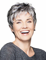 cheap -Synthetic Wig Curly Pixie Cut With Bangs Wig Grey Synthetic Hair 14 inch Women's Classic Adorable Cool Dark Gray