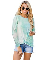 cheap -Women's T-shirt Color Block Tie Dye Long Sleeve Print Round Neck Tops Basic Basic Top Green Rainbow