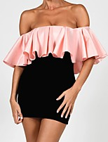 cheap -Women's Sheath Dress Short Mini Dress - Short Sleeve Solid Color Ruffle Patchwork Fall Off Shoulder Sexy Slim 2020 Blushing Pink S M L XL