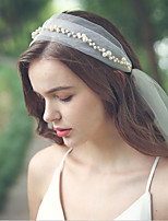 cheap -One-tier Love Wedding Veil Fingertip Veils with Faux Pearl Organza