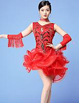 cheap -Latin Dance Dress Tassel Ruching Split Joint Women's Training Performance Sleeveless Natural Tulle Sequined Milk Fiber
