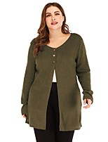 cheap -Women's Fall Single Breasted V Neck Coat Regular Solid Colored Daily Basic Plus Size Black Blue Red Army Green XL XXL 3XL