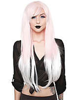 cheap -Cosplay Wig Pink to Straight Asymmetrical With Bangs Wig Very Long Pink Synthetic Hair Women's Anime Cosplay Exquisite Pink