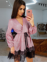 cheap -Women's A-Line Dress Short Mini Dress - Long Sleeve Solid Color Lace Sequins Patchwork Spring V Neck Sexy Slim 2020 Black Blue Yellow Blushing Pink S M L XL XXL