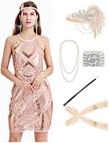 cheap -The Great Gatsby Vintage 1920s Flapper Dress Outfits Masquerade Women's Costume Beige Vintage Cosplay Party Prom / Gloves / Headwear / Necklace / Bracelets & Bangles / Cigarette Stick