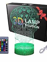 cheap -Luminarias Night Light 3D LED Lamp Skull 3D Lights Children's Nightlight Visual Led Night Light Illusion Mood Lamp 16 Colors Lamp