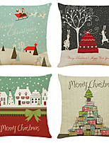 cheap -Set of 4 lovely Xmas Linen Square Decorative Throw Pillow Cases Sofa Cushion Covers 18x18