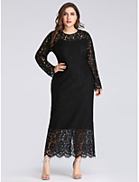 cheap -Women's Shift Dress Midi Dress - Long Sleeve Solid Color Lace Spring Fall Plus Size Elegant Sexy Party Club Slim 2020 Black XL XXL 3XL 4XL 5XL 6XL 7XL