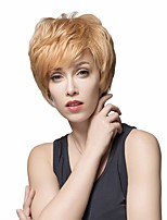 cheap -Human Hair Blend Wig Short Natural Straight With Bangs Blonde White Classic Women Best Quality Capless Women's Chestnut Brown Medium Auburn / Bleach Blonde Beige Blonde / Bleached Blonde 8 inch