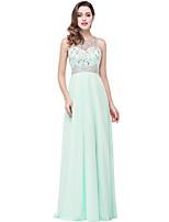 cheap -A-Line Elegant Minimalist Engagement Formal Evening Dress Illusion Neck Sleeveless Floor Length Chiffon with Pleats Crystals 2020