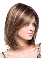 cheap -Synthetic Wig Straight kinky Straight Asymmetrical Wig Short Light Brown Synthetic Hair 14 inch Women's Fashionable Design Adorable Comfortable Light Brown