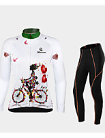 cheap -Malciklo Women's Long Sleeve Cycling Jersey with Bib Tights Cycling Jersey with Tights Winter Violet Red / White Red / Yellow Tropical Flowers Bike Thermal Warm Warm Sports Graphic Mountain Bike MTB