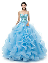 cheap -Ball Gown Elegant Luxurious Quinceanera Formal Evening Dress Sweetheart Neckline Sleeveless Floor Length Organza with Crystals 2020