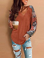cheap -Women's T-shirt Floral Flower Long Sleeve Print V Neck Tops Basic Basic Top Purple Red Orange