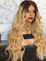 cheap -Synthetic Wig Loose Curl Middle Part Wig Very Long Black / Gold Synthetic Hair 28 inch Women's Party Color Gradient Fluffy Black / Blonde