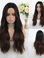 cheap -Synthetic Wig Ombre Cosplay Wig Body Wave Natural Wave Middle Part Wig Long Ombre Color Synthetic Hair 26 inch Women's Heat Resistant Party Ombre Hair Brown Mixed Color EMMOR