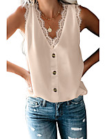 cheap -Women's Tank Top Solid Colored Button Lace Trims V Neck Tops Basic Basic Top White Black Blushing Pink