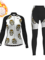cheap -21Grams Women's Long Sleeve Cycling Jacket with Pants Winter Fleece Polyester Black Skull Funny Bike Clothing Suit Thermal Warm Fleece Lining Breathable 3D Pad Warm Sports Skull Mountain Bike MTB