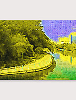 cheap -Oil Painting Hand Painted - Abstract Landscape Modern Stretched Canvas