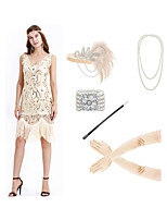 cheap -The Great Gatsby Vintage 1920s Flapper Dress Outfits Masquerade Women's Tassel Fringe Costume Beige Vintage Cosplay Party Prom / Gloves / Headwear / Necklace / Bracelets & Bangles / Cigarette Stick
