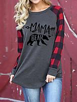 cheap -Women's Mom Tunic Plaid Check Letter Long Sleeve Print V Neck Tops Basic Basic Top Gray