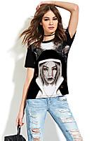 cheap -Women's T-shirt Graphic Prints Print Round Neck Tops Basic Christmas Basic Top Black