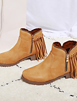 cheap -Women's Boots Cuban Heel Round Toe Casual Basic Daily Tassel PU Booties / Ankle Boots Walking Shoes Black / Brown / Gray