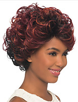 cheap -Synthetic Wig Curly With Bangs Wig Short Burgundy Synthetic Hair 14 inch Women's Fashionable Design Exquisite Romantic Burgundy