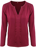 cheap -Women's T-shirt Solid Colored Long Sleeve V Neck Tops Basic Basic Top Black Red