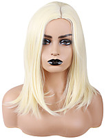 cheap -Synthetic Wig Straight Natural Straight Asymmetrical Wig Medium Length Blonde / Purple Synthetic Hair 18 inch Women's Cute Party Exquisite Blonde
