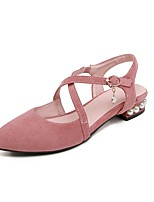 cheap -Women's Flats Cuban Heel Pointed Toe Sweet Daily Pearl Solid Colored Nubuck Black / Pink