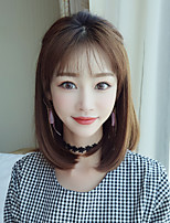 cheap -Synthetic Wig kinky Straight With Bangs Wig Short Brown Synthetic Hair 14 inch Women's Classic Exquisite Fluffy Brown