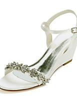cheap -Women's Wedding Shoes Wedge Heel Open Toe Sweet Wedding Party & Evening Rhinestone Solid Colored Satin White / Black / Purple