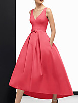cheap -A-Line Vintage Sexy Wedding Guest Formal Evening Dress V Neck Sleeveless Ankle Length Satin with Sleek Bow(s) 2020