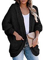 cheap -Women's Basic Long Knitted Solid Color Plain Cardigan Long Sleeve Sweater Cardigans Open Front Spring Fall Black Army Green Orange