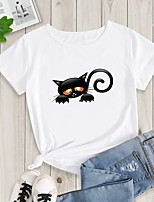 cheap -Women's Going out T-shirt Cat Print Round Neck Tops Basic Basic Top White