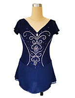cheap -Figure Skating Dress Women's Girls' Ice Skating Dress Dark Blue Glitter Patchwork Spandex High Elasticity Competition Skating Wear Handmade Crystal / Rhinestone Sleeveless Ice Skating Figure Skating