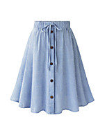 cheap -Women's Street Casual / Daily Streetwear Sophisticated Midi Skirts Striped Pleated Drawstring