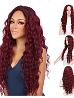 cheap -Synthetic Wig Curly Middle Part Wig Very Long Wine Red Natural Black Synthetic Hair 12 inch Women's Classic Exquisite Fluffy Black Burgundy